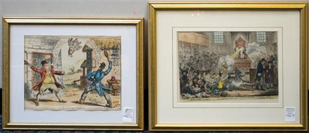 Two Color Lithographs, Political Cartoons, 18 x 22 inches