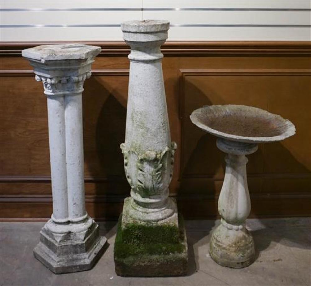 Two Cast Cement Pedestals and Bird Bath