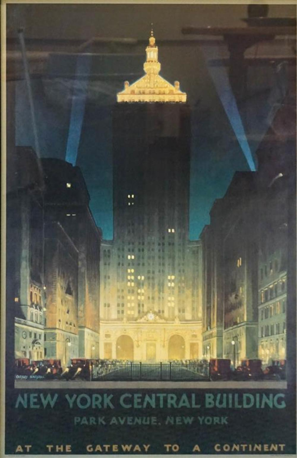 Framed New York Central Building Reproduction Poster, Frame: 40 x 27-1/4 in