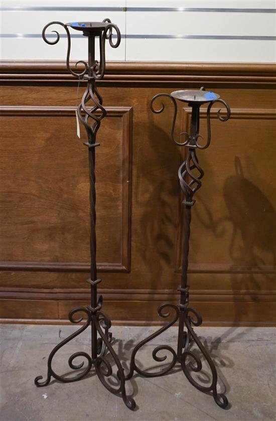 Two Wrought Iron Pricket Candlesticks, H of taller: 41-1/2 in
