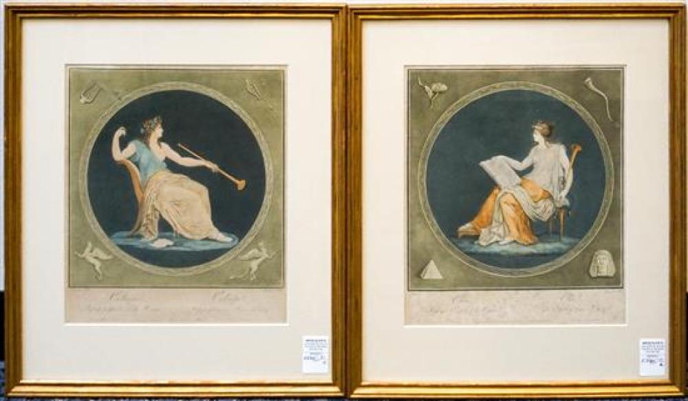Two Color Engravings, 'Clio' and 'Calliope', 22 x 19 inches