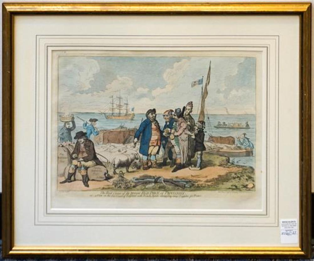 James Gilray, The Real Cause of the Present High Price of Provisions, Lithograph, 22 x 25 inches
