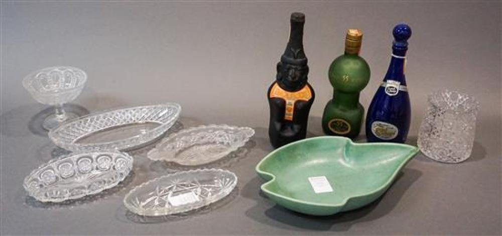 Royal Haeger Green Glaze Leaf-Form Pottery Bowl, Three Vintage Decanters and Group with Pressed Glass Table Articles