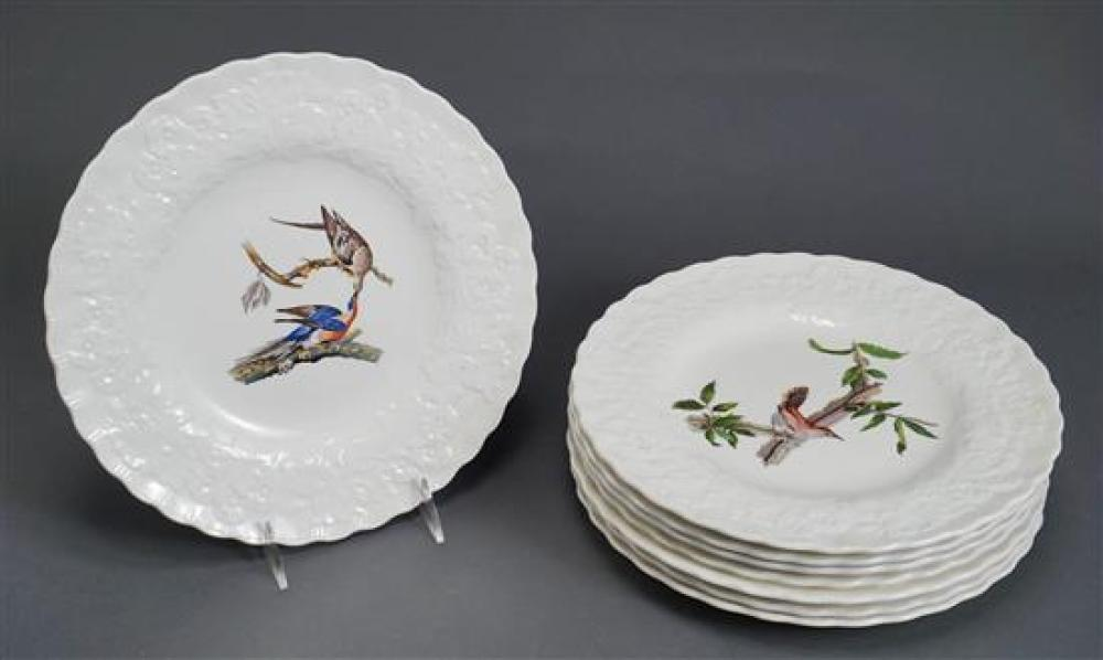Eight Alfred Meadkin Birds of America Service Plates, Diameter: 11 in