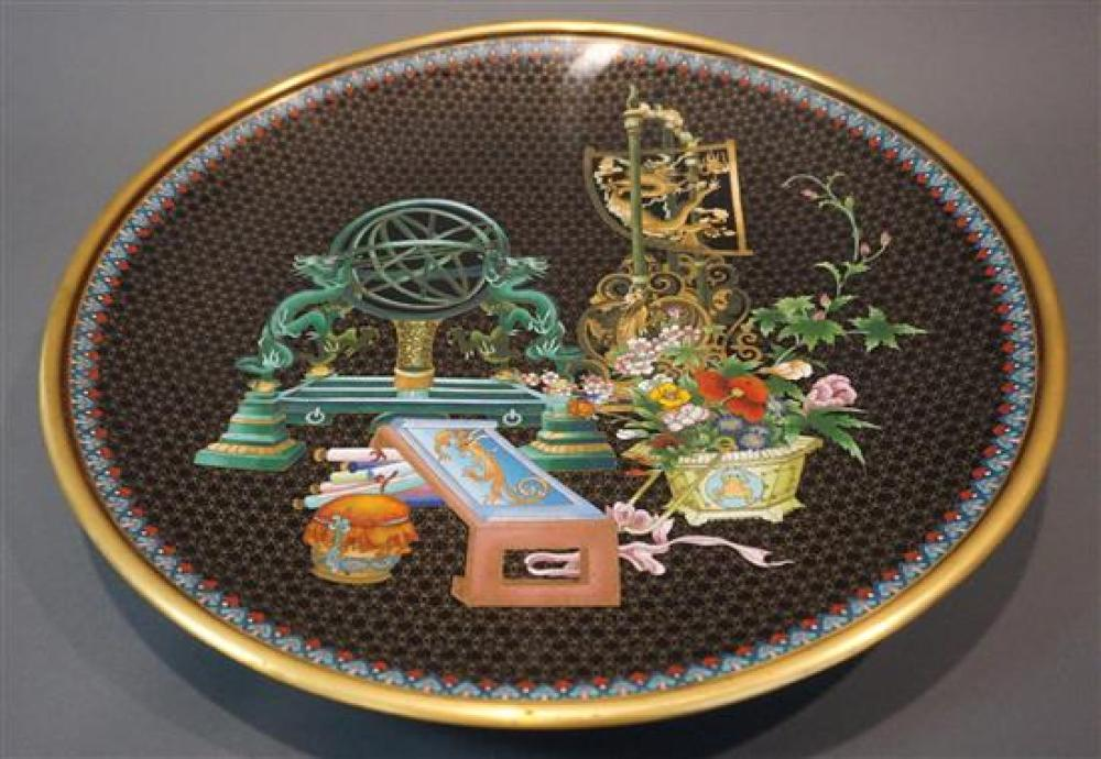 Chinese Cloisonne 'Scholar's Still Life' Charger, Diameter: 20 in