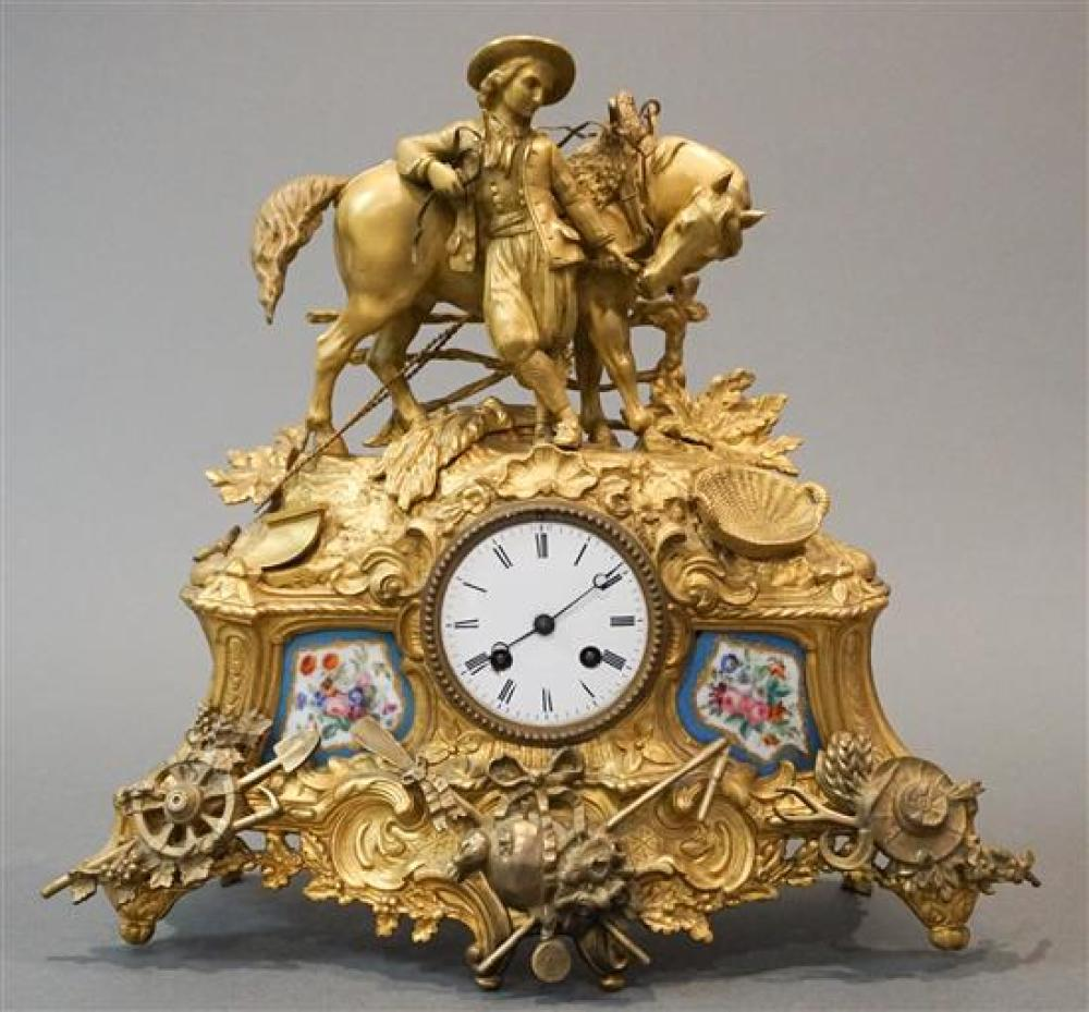 Miroy Freres, Paris 19th Century Bronze and Porcelain Mantle Clock, Height: 15 in, Width: 16 in, Depth: 6 in