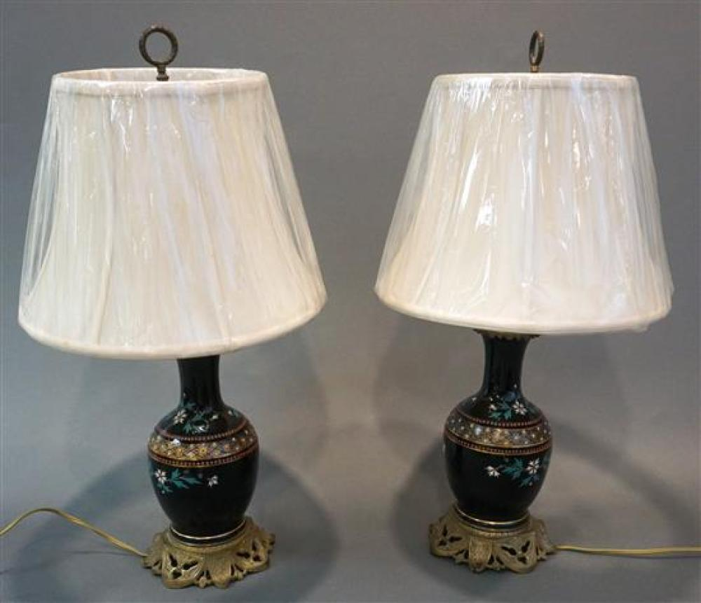 Pair English Enamel Decorated Porcelain Vases mounted as Lamps, Height overall: 26 in