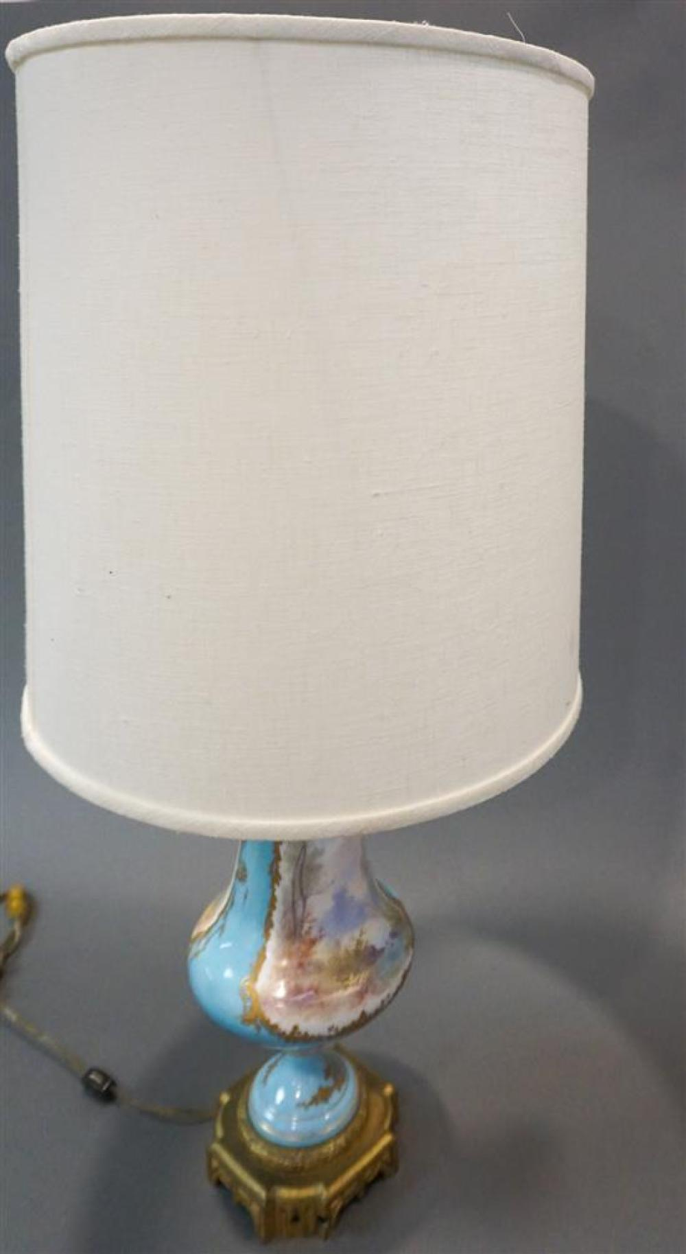Sevres Type Blue Celeste Ground Decorated Urn mounted as Lamp, H: 32 in