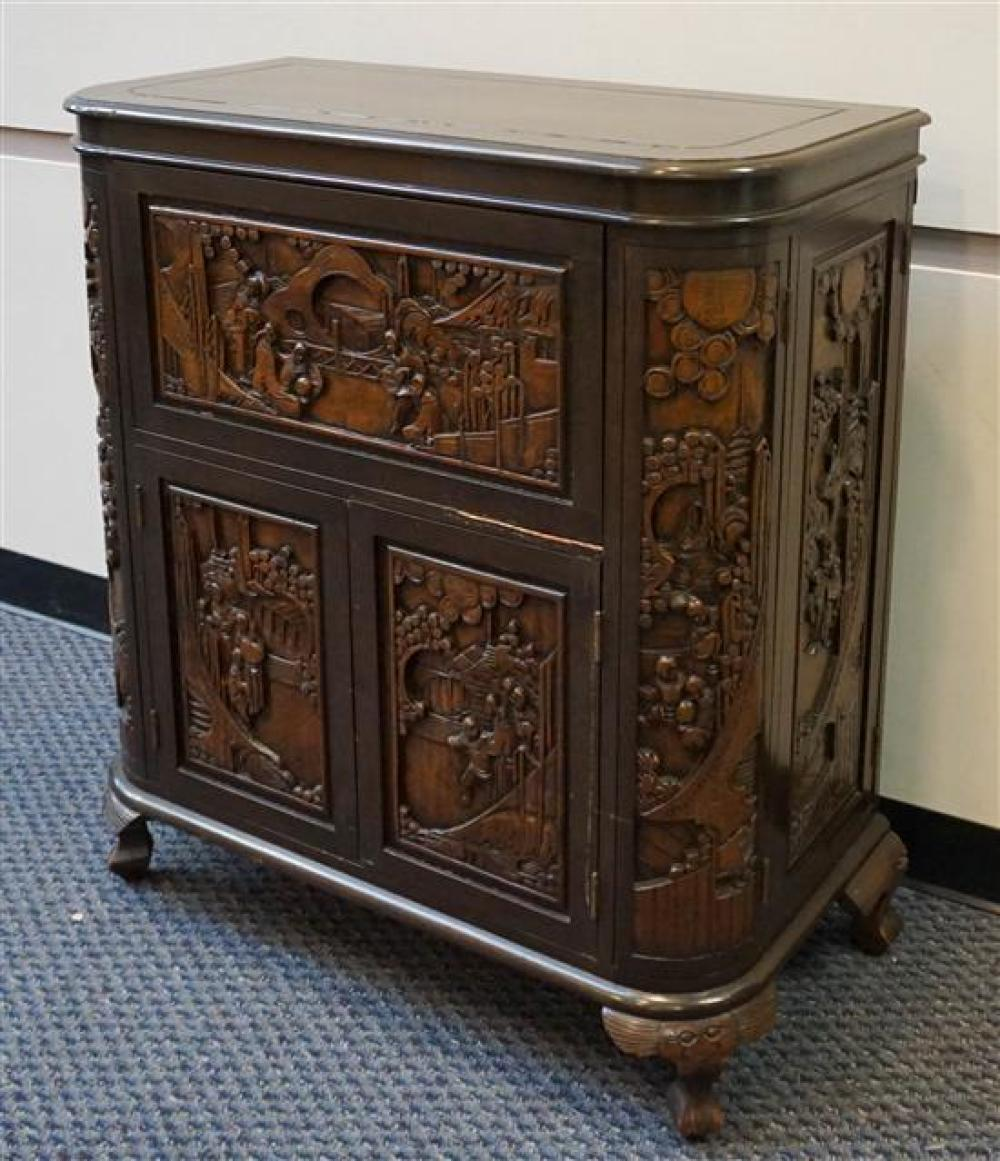 Chinese Carved Folding Bar, H: 40-1/2 in, W: 36-1/4 in, D: 18 in