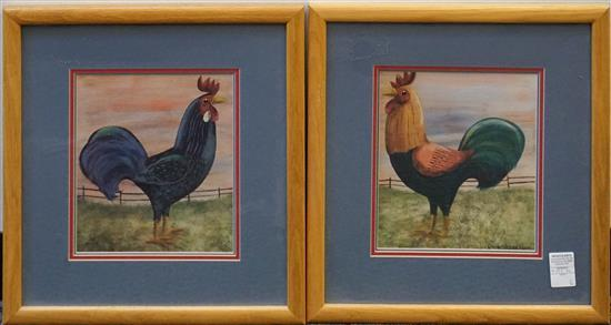 After Emma Stubbs Hunk, Roosters, Pair Color Prints, Frame: 18-1/2 x 17 in