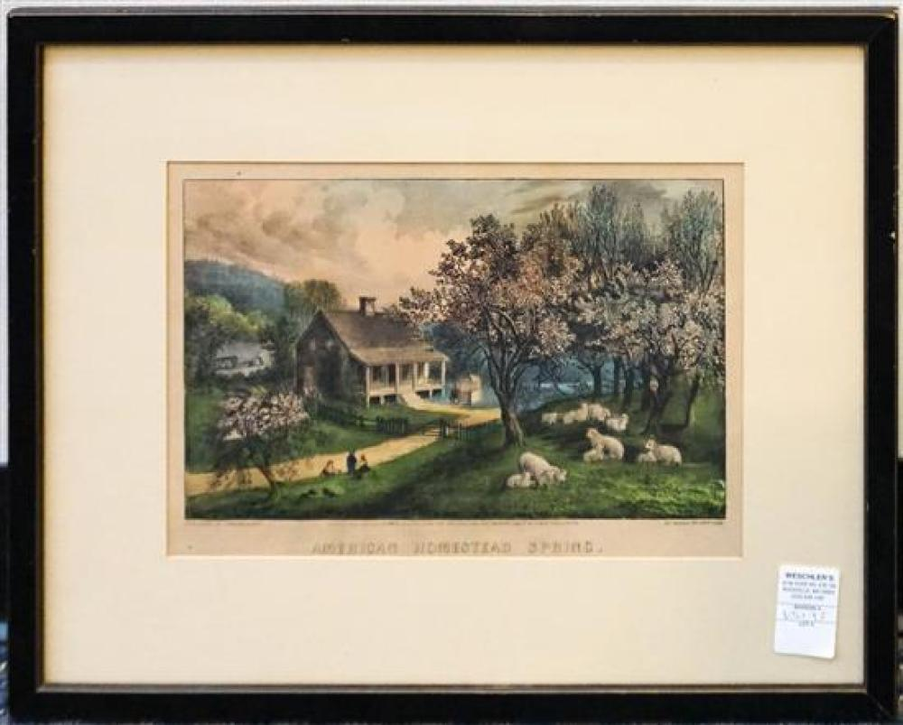 American Homestead Spring, Lithograph Published by Currier and Ives, Frame: 16-1/2 x 8-1/2 in