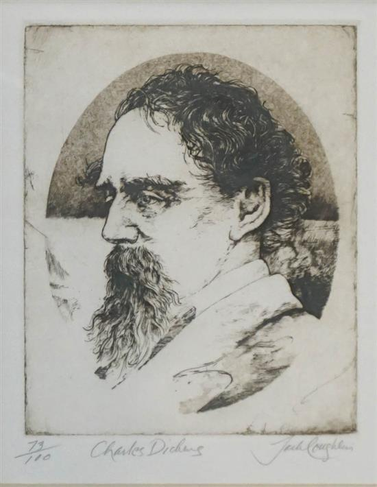 Jack Coughlin, Charles Dickens, Etching, Frame: 27-1/2 x 31-1/2 in