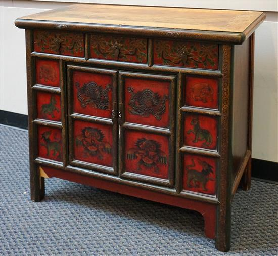 Southeast Asian Decorated Wood Side Cabinet, H: 35 in, W: 39-1/4 in, D: 19-1/2 in