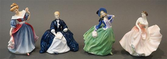 Four Royal Doulton Porcelain Figurines, H of taller: 8-1/2 in