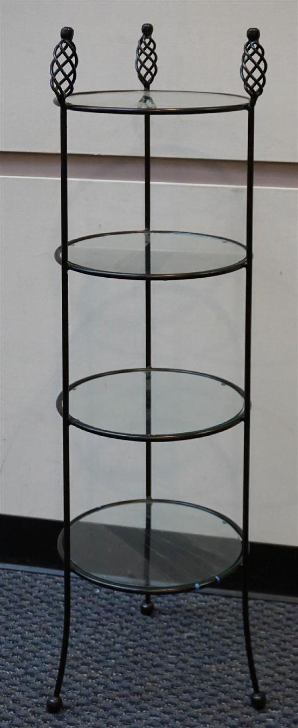 Black Painted Metal Round Four-Tier Side, H: 45 in