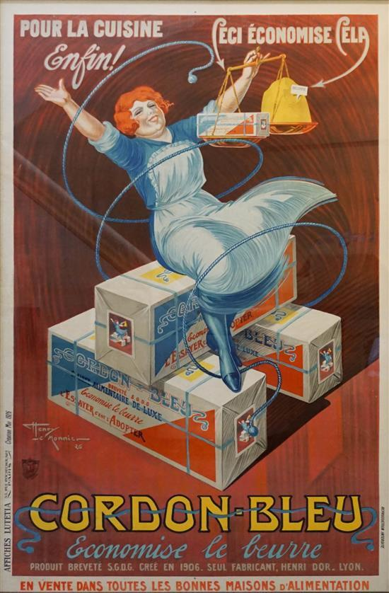 Henri Le Monnier (French 1893-1978), Cordon Bleu, Poster, Frame: 66-1/2 x 46 -1/4 inches