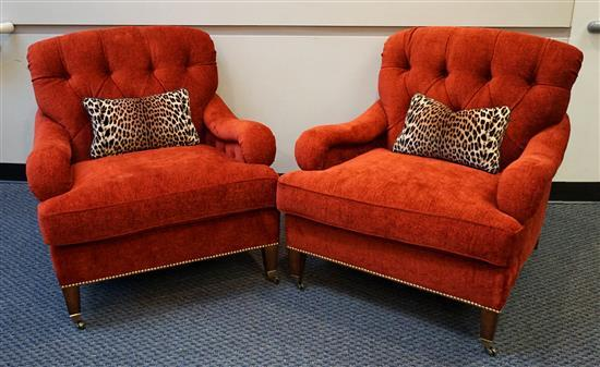 Pair Edward Ferrell Red Upholstered Lounge Chairs with Leopard Print Accent Pillows, W: 35 in