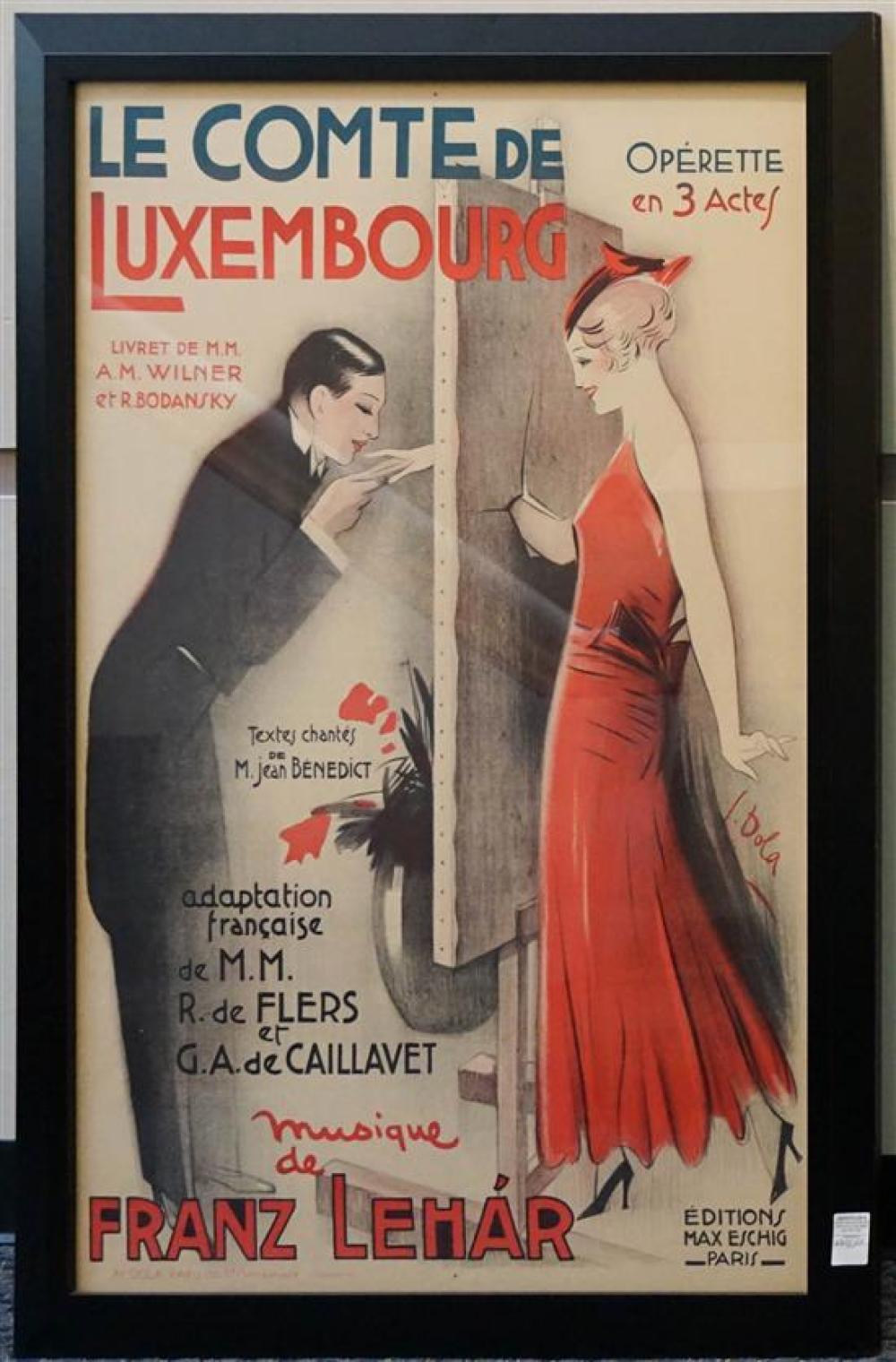 Georges Dola (French 1872-1950), Le Comto de Luxembourg, Poster, 52 x 36 inches