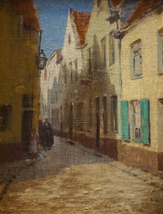 French 19th Centry School, Street Scene with Figures, Oil on Canvas, Frame: 20 x 16 in