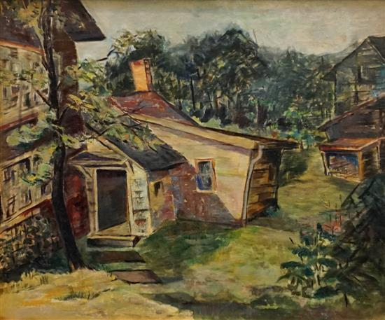 Peter Bela Mayer (Hungarian-American 1887-1992), Vermont Country Living, Oil on Canvasboard, Frame: 27-1/2 x 31-1/2 in