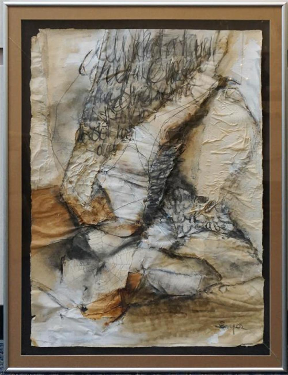 20th Century, Abstract, Mixed Media on Paper, (glass cracked) Frame: 39-1/2 x 30 in