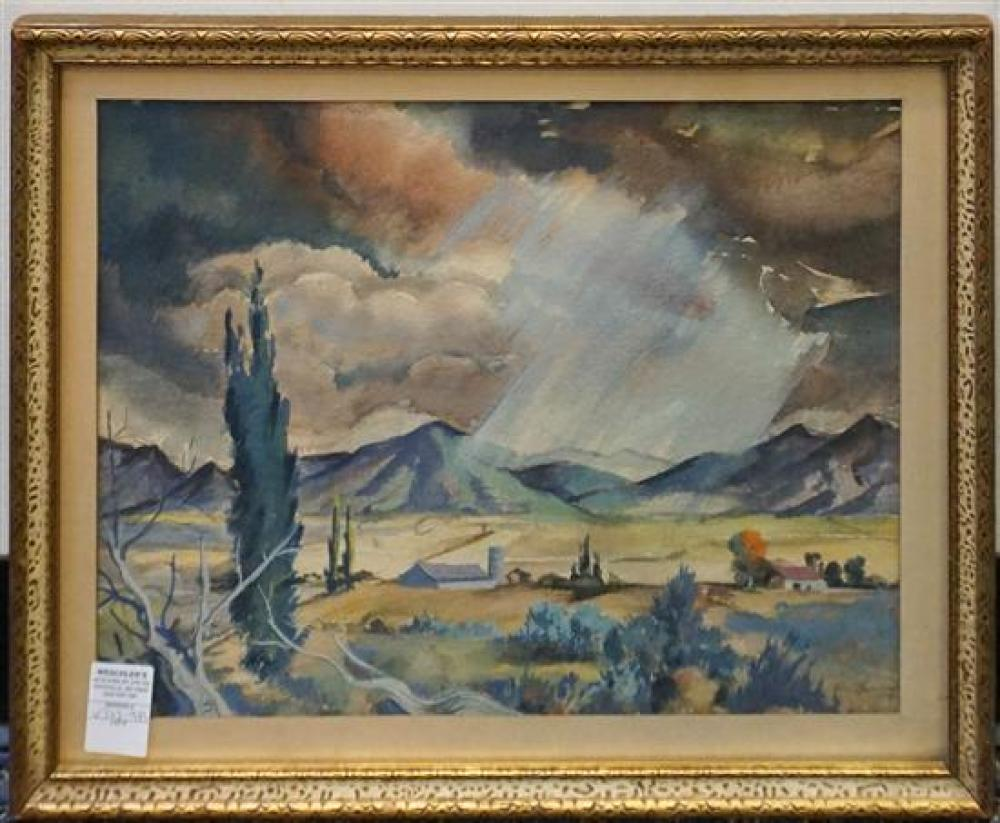 American 20th Century School, Farm Landscape, Watercolor on Paper, Signed Indistinctly, Frame: 17-1/2 x 22 in