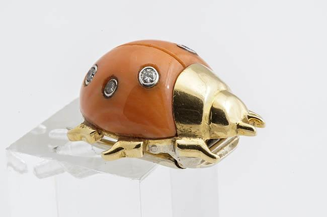 18-Karat Yellow-Gold, Coral and Diamond 'Ladybug' Clip-Brooch, Cartier, Circa 1935