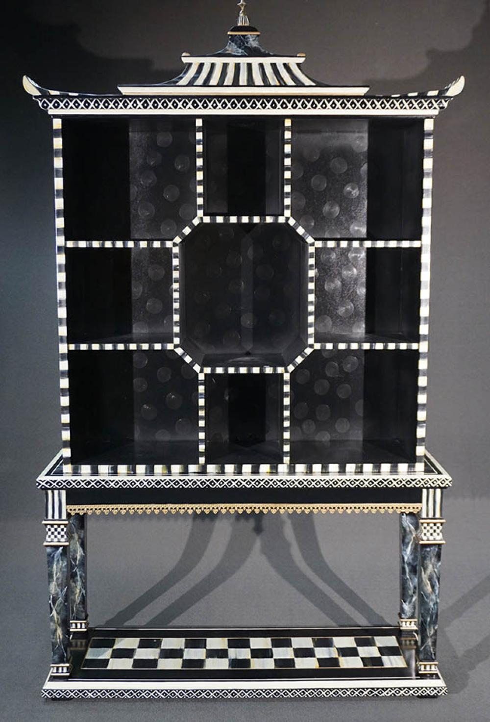 MacKenzie-Childs Black and White Check Painted and Brass Mounted 'Chinoiserie' Wood Étagère on Stand