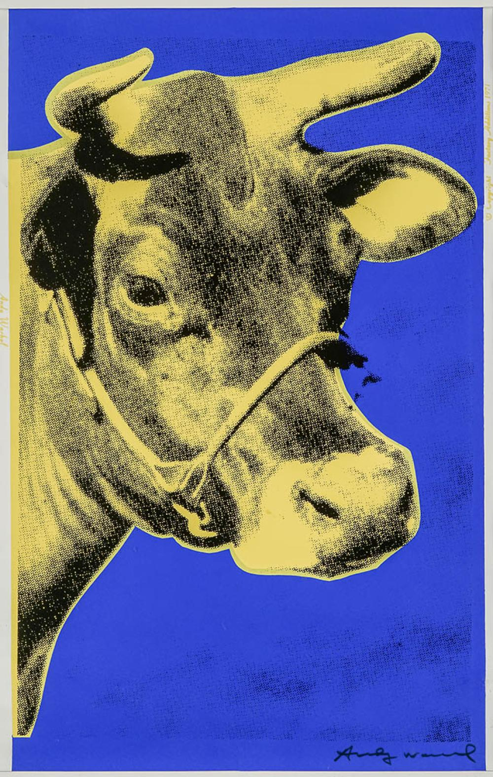 Andy Warhol (American 1928-1987), Cow (Yellow and Blue) (F & S 12), Screenprint in Color Printed on Wallpaper, Framed