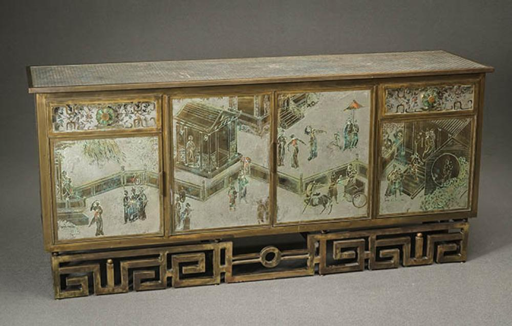 Philip and Kelvin LaVerne Polychrome and Textured Bronze and Acid-Etched Pewter 'Tao' Credenza Circa 1970-1980