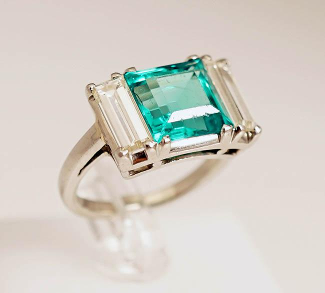 Platinum, Colombian Emerald and Diamond Ring