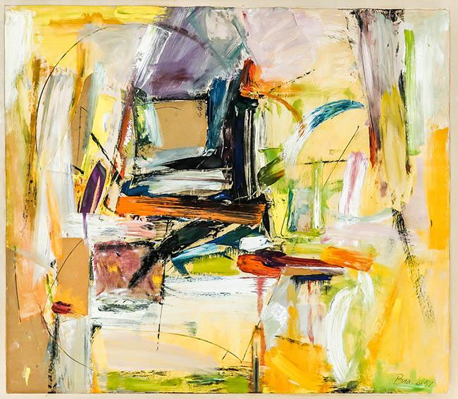 Paul Brach (American 1924-2007), Untitled No. 9, Oil, Cardboard and Fabric on Paper, Framed, Sheet size: 23 x 27-1/2 inches