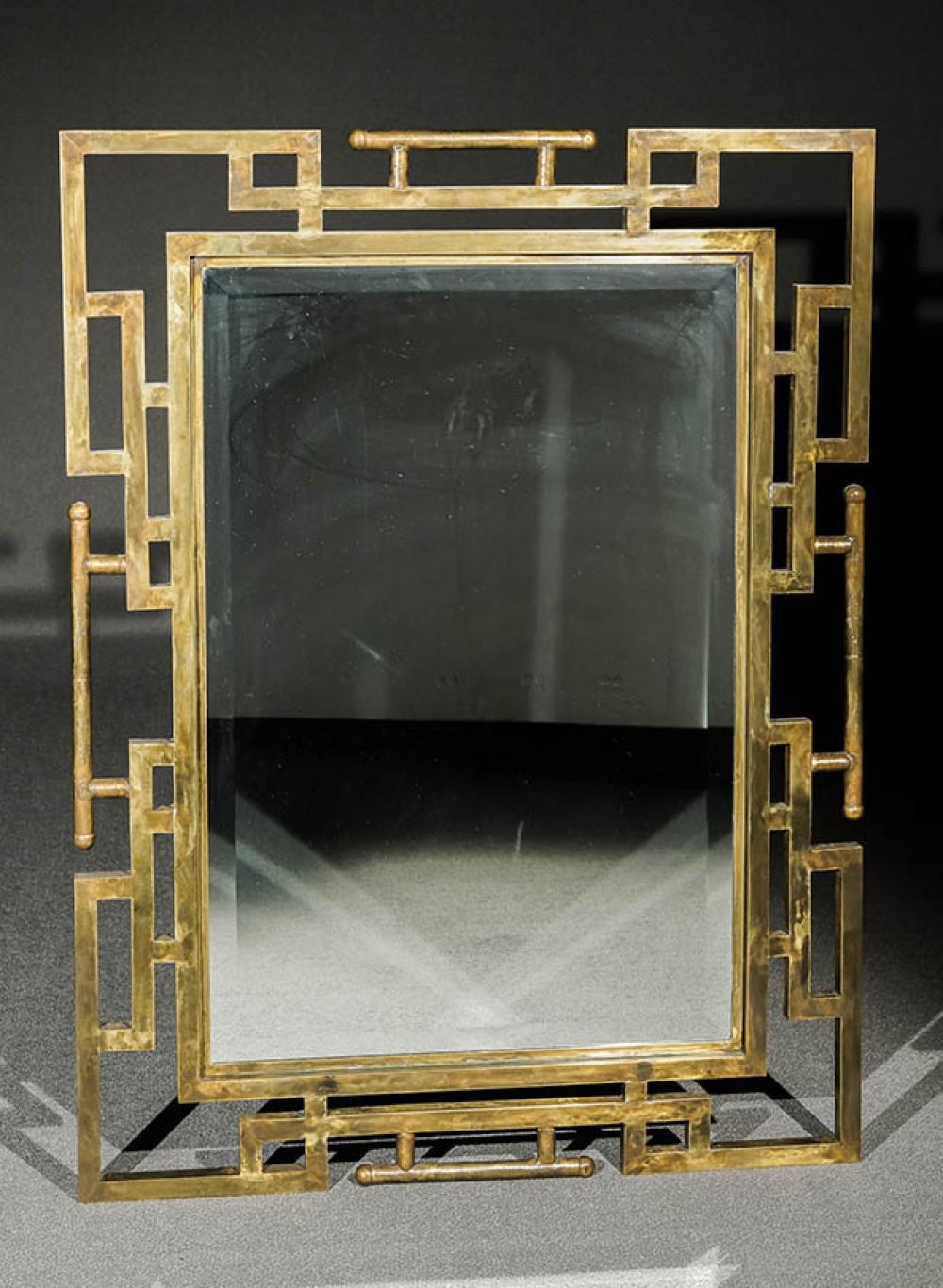 Philip and Kelvin LaVerne Patinated Bronze Beveled Edge Mirror Circa 1970s