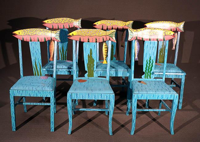 Set of Six Tom Dolan Painted and Decorated Wood 'Speckled Fish' Side Chairs