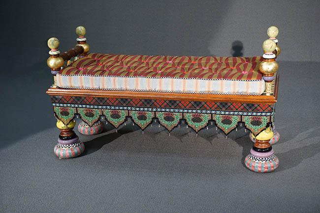 MacKenzie-Childs Painted and Decorated Wood 'Ridiculous' Bench; together with Reversible Cushion