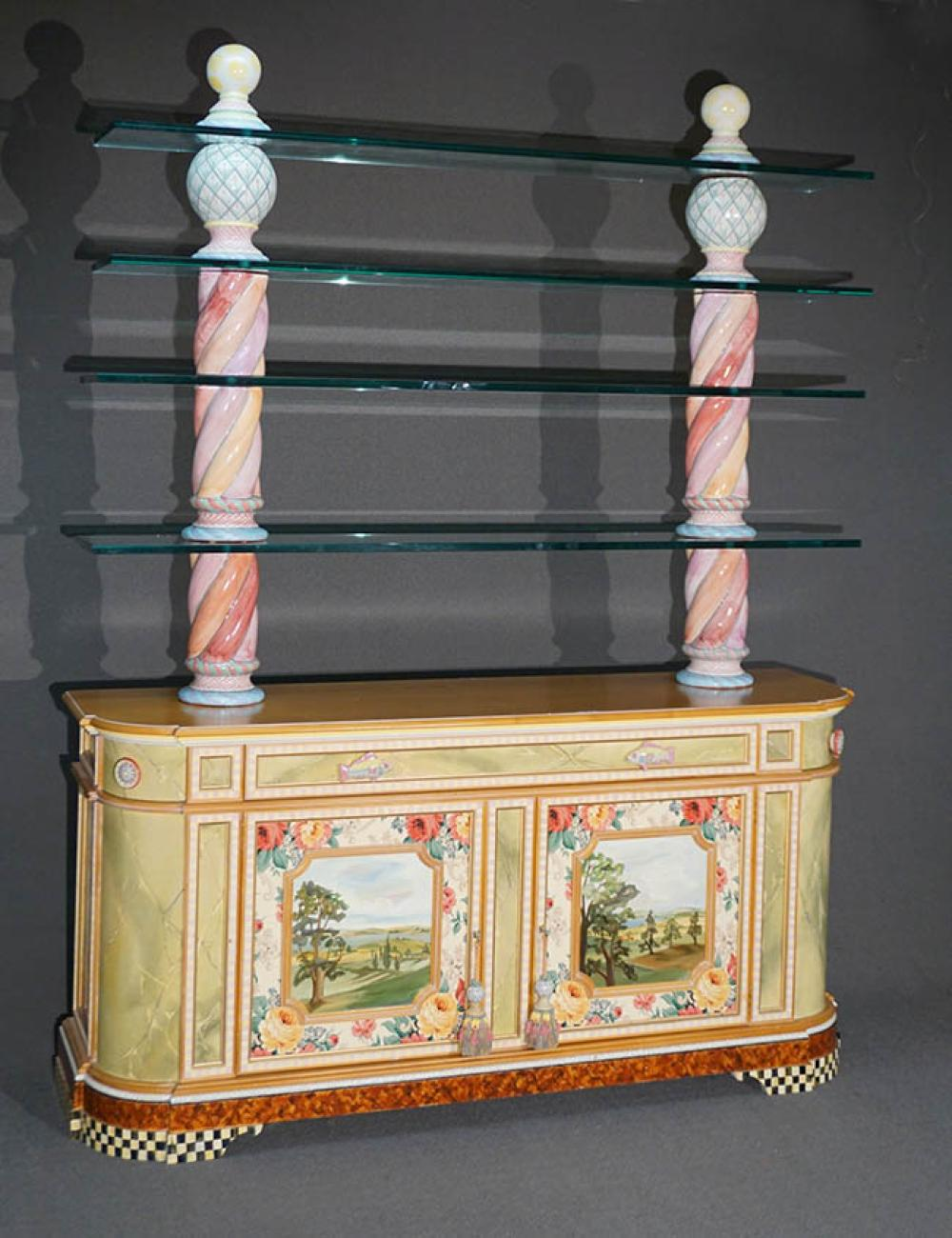 MacKenzie-Childs Painted and Decorated Cherry and Art Pottery Hutch Credenza with Glass Shelves