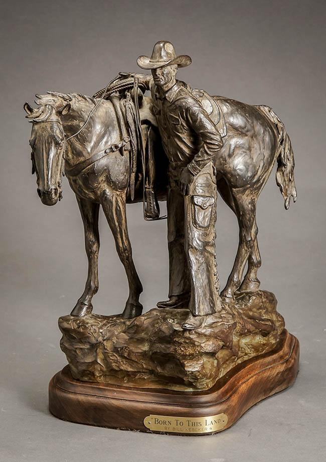 Bill Nebeker (American b. 1942), Born to This Land, Bronze Sculpture with Brown Patina, H: 15 inches