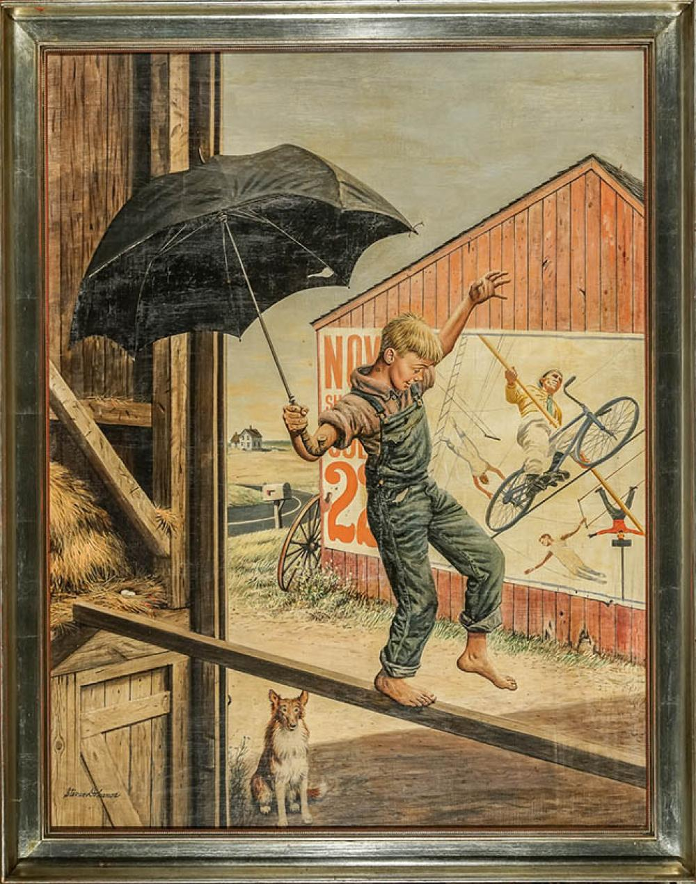 Stevan Dohanos (American 1907-1995), Walking the Tightrope*, Oil on Canvas, 39 x 30 inches