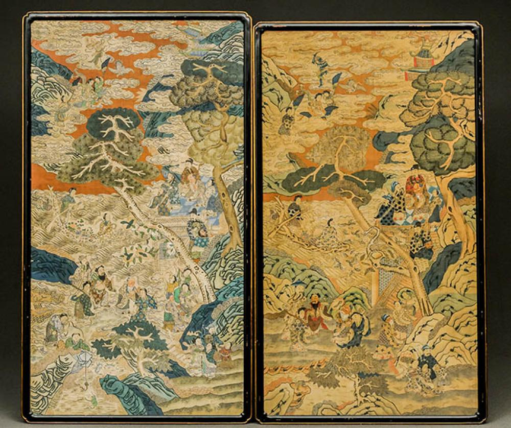 Two Chinese Polychrome Painted Silk Kesi-Style Panels of Immortals and Attendants 19th Century