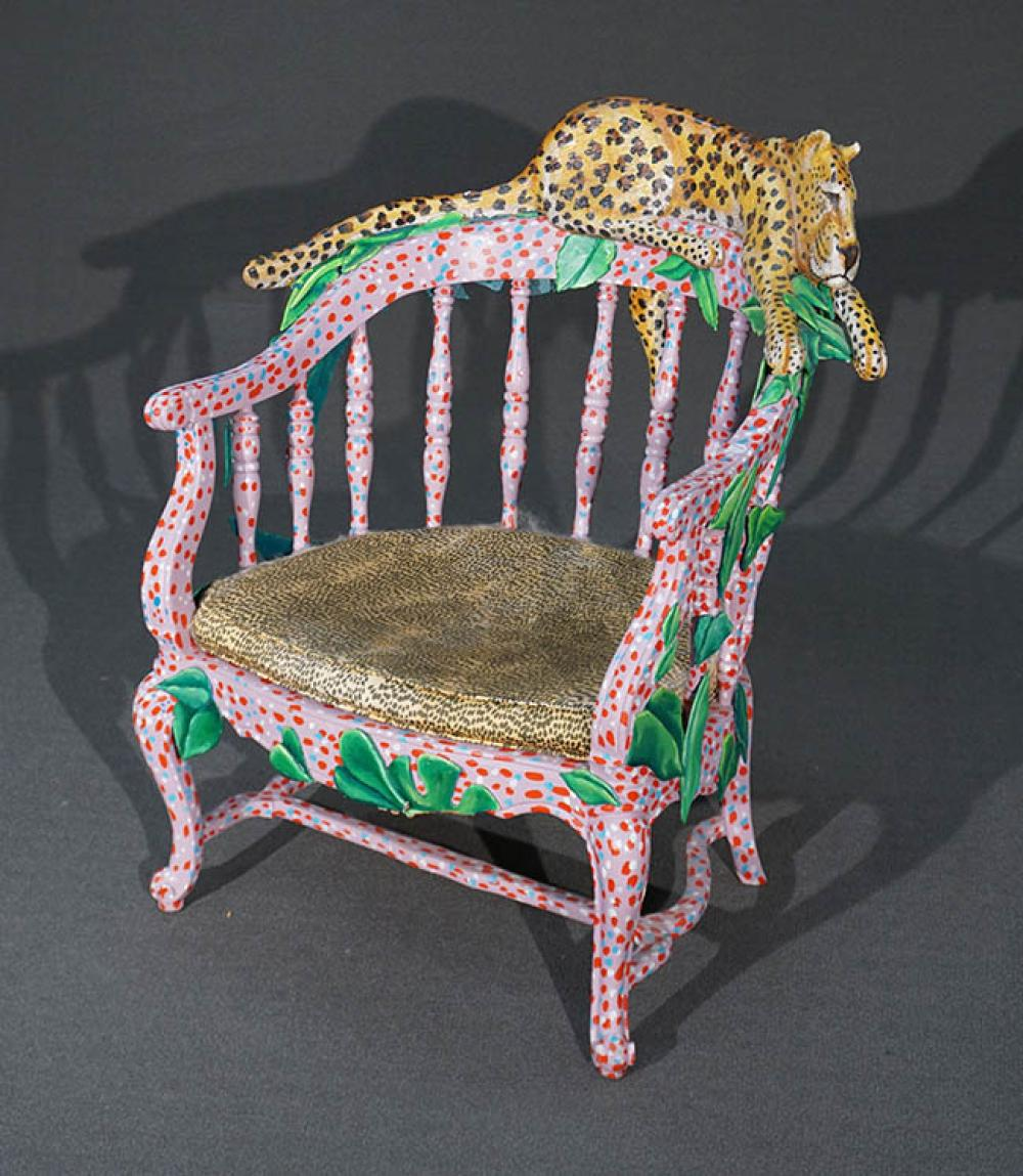 MacKenzie-Childs Type Painted and Decorated Wood 'Leopard' Armchair