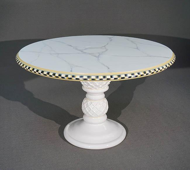 MacKenzie-Childs Painted and Decorated Wood Faux Marble Top White Glazed Pedestal Base Table