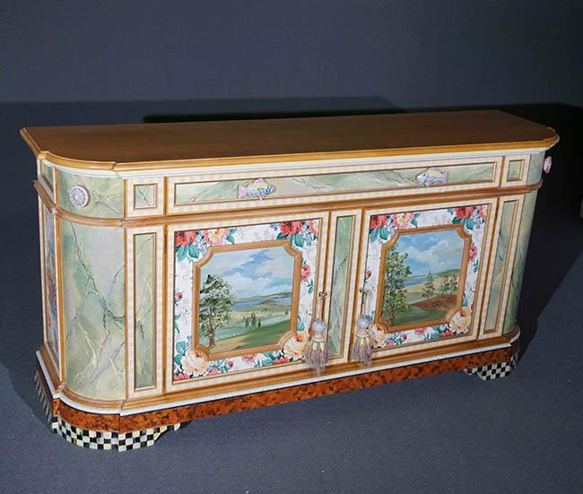 MacKenzie-Childs Landscape Painted and Decorated Cherry Credenza