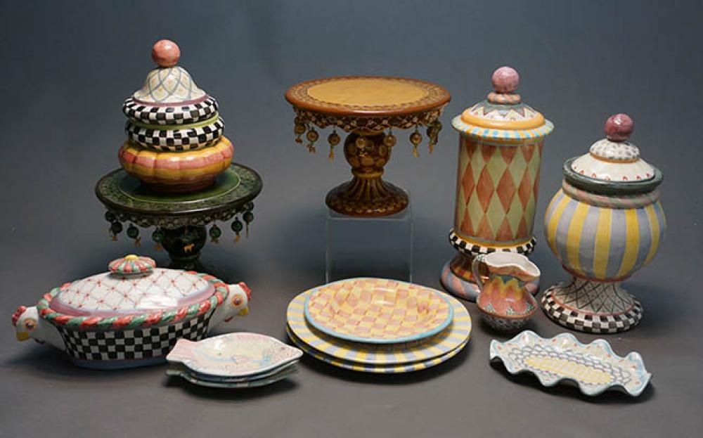 Collection of Fourteen MacKenzie-Childs Art Pottery Table Articles