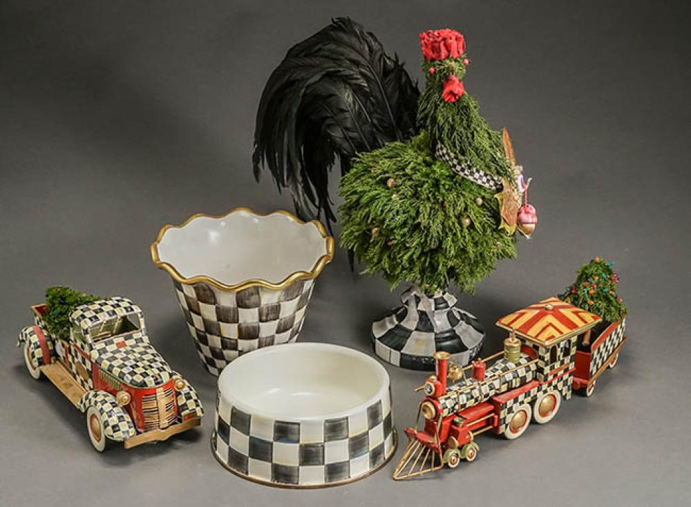MacKenzie-Childs Checkered Enamel Locomotive with Tender, Model T Pick-Up Truck, Figure of a Rooster, Jardinière and a Bowl Modern