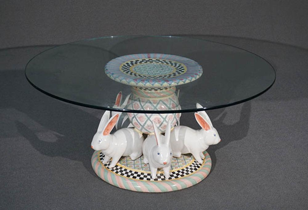 MacKenzie-Childs Art Pottery 'Bunny Rabbit' Round Glass Top Table