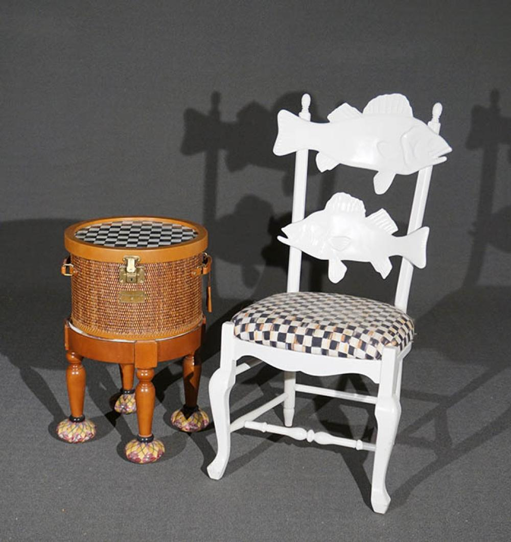 MacKenzie-Childs Stained, Painted and Decorated Wicker Storage Box on Stand and a White Painted 'Fish' Side Chair