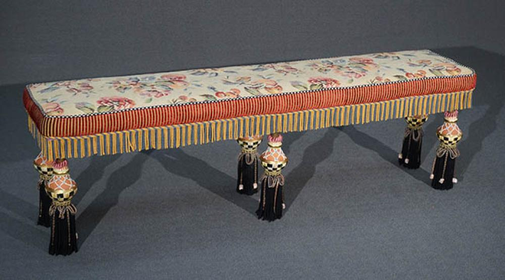 MacKenzie-Childs Painted and Decorated Wood and Art Pottery and Floral Tapestry Needlepoint Upholstered Seat Long Bench, L: 61 inches