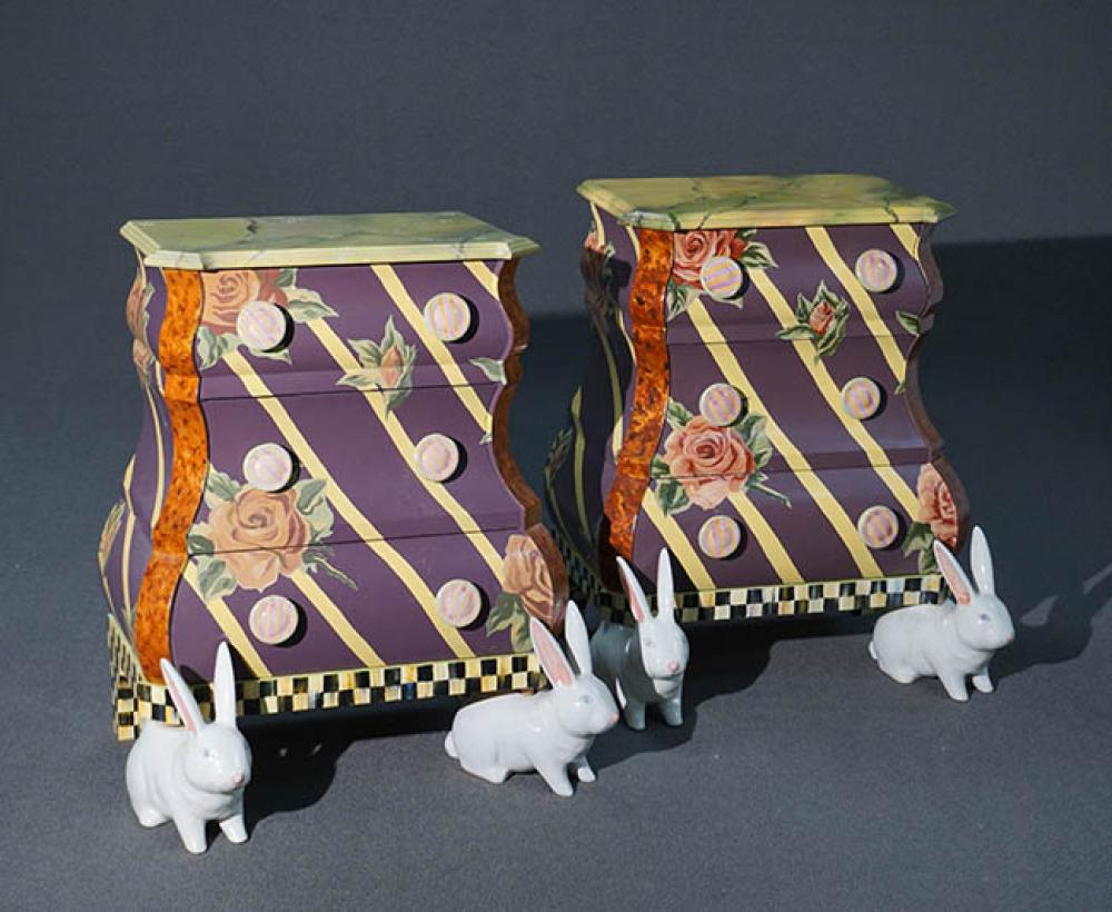 Pair of MacKenzie-Childs Painted and Decorated Wood 'Bunny Rabbit' Ceramic Feet Bombé-Form Side Tables