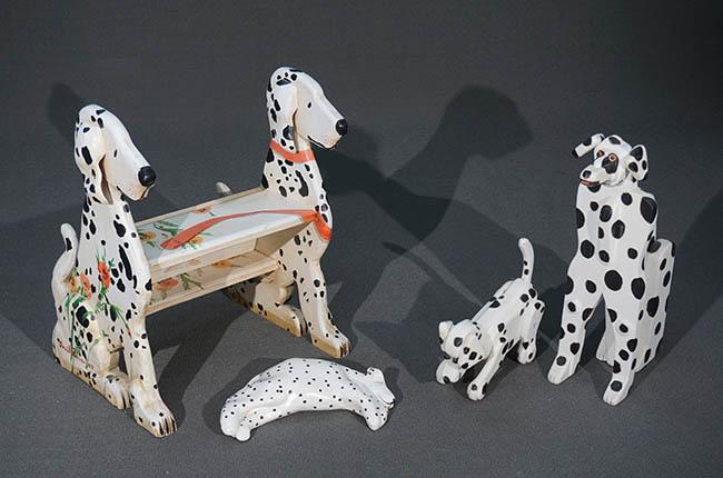 Pair of Kohn Black and White Painted Wood Figures of Dalmatians, a Bedstep and an Art Pottery Recumbent Dalmatian