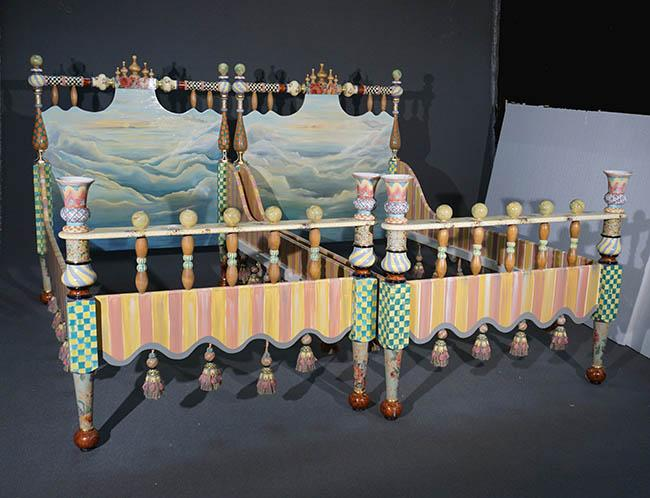 Pair of MacKenzie-Childs Landscape Painted and Decorated Wood 'Ridiculous' Twin Beds